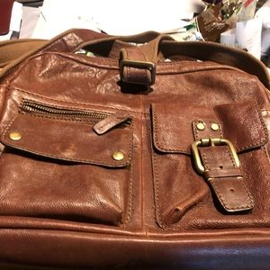 Used brown leather crossbody bag. 14x12